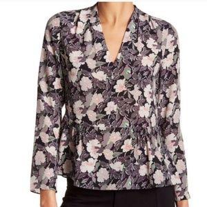 Rebecca Taylor silk peplum floral blouse shirt 6 s